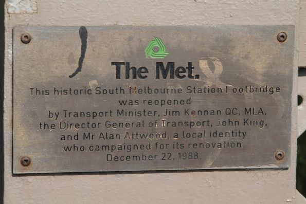 Plaque marking the restoration of the South Melbourne railway station footbridge in 1988