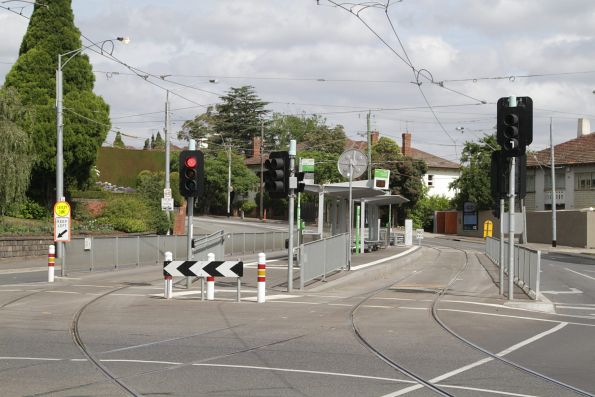 Platform tram stop at Riversdale Junction on routes 48 and 75