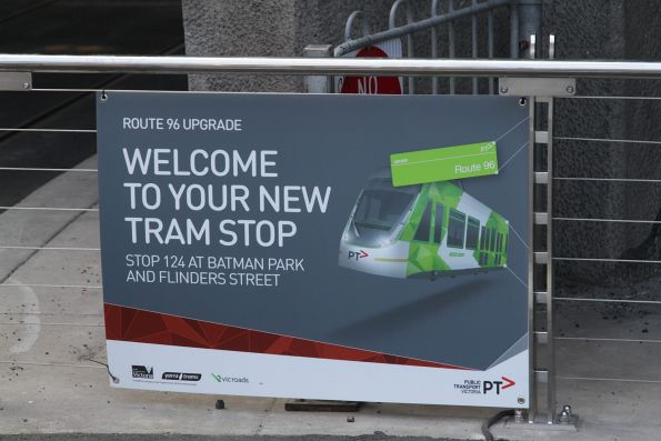 'Welcome to your new tram stop' sign at stop 124 - Batman Park and Flinders Street