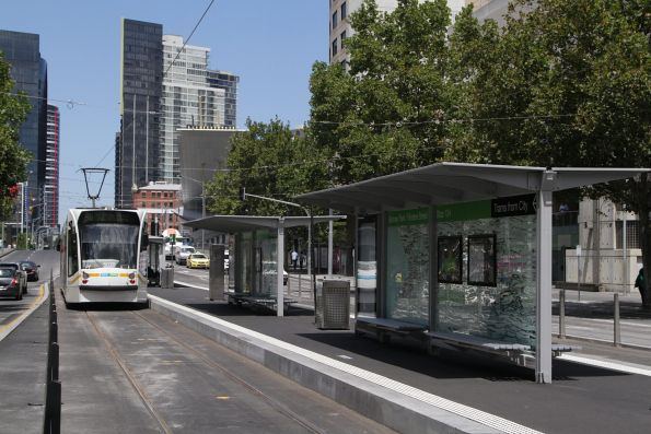 Completed island platform tram stop 124 - Batman Park and Flinders Street