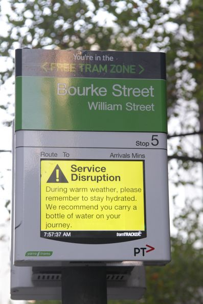 Inane 'keep hydrated' message from Yarra Trams preventing passengers from finding out when the next tram is