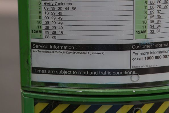 Daly Street / Dawson Street shortworking notice at the bottom of a route 55 timetable