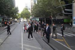 Departing passengers at Collins and Spencer Street head for Southern Cross Station