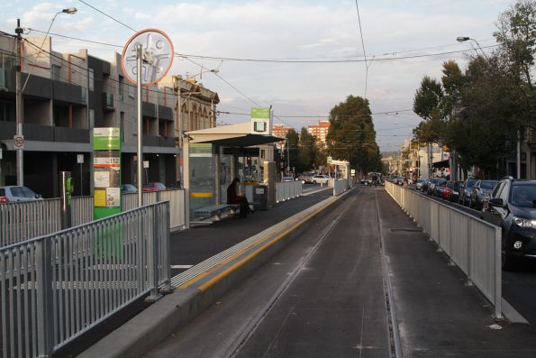 New island platform stop at the corner of Elgin and Lygon Street