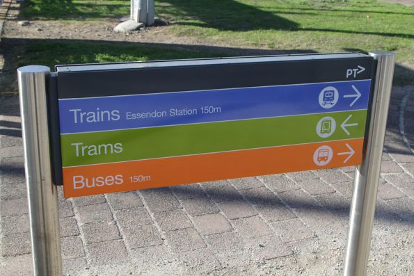 Directions to trams, trains and buses at Fletcher and Napier Street, Essendon