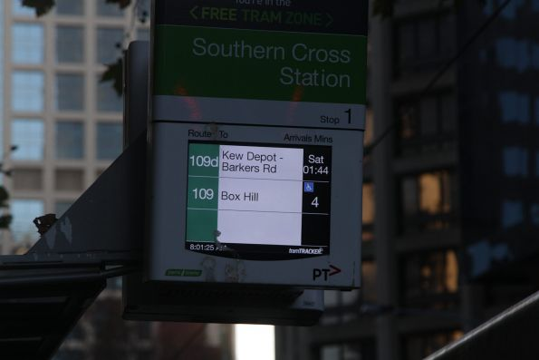 Next route 109d service on Collins Street is in five days time
