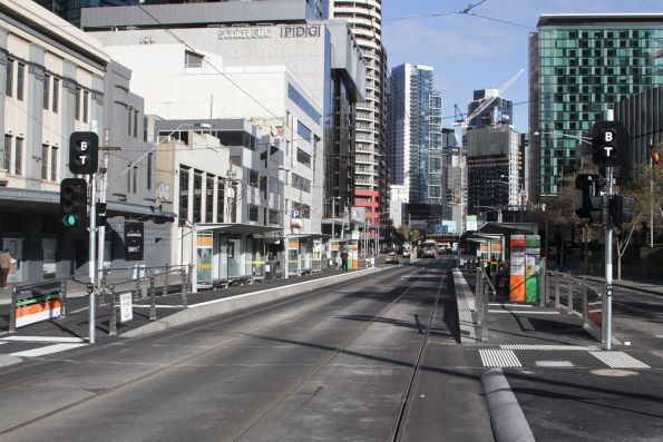 Recently completed combined tram and bus platform stop on Queensbridge Street