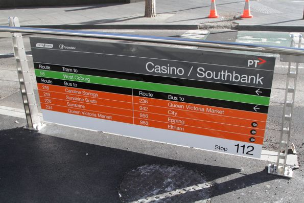 Tram and bus route info at the recently completed combined platform stop on Queensbridge Street