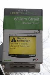 Service disruption notice at a CBD tram stop
