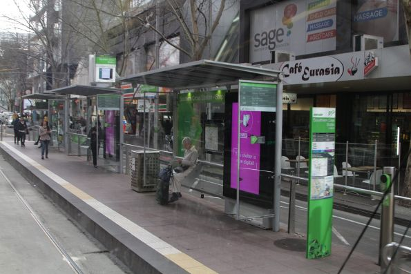 New 'Adshel Live' digital screens at a CBD tram stop