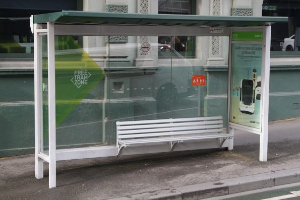 Tram shelter located on the La Trobe Street footpath