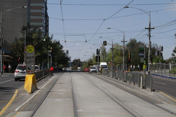 Soon to be removed tram stop on Wellington Parade at Jolimont station