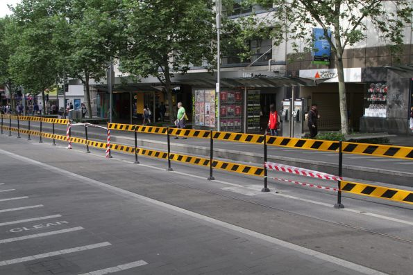 Fences at the Melbourne Central tram stop have already been broken
