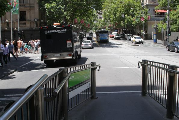 Incredibly narrow eastern exit from the Town Hall tram stop on Collins Street