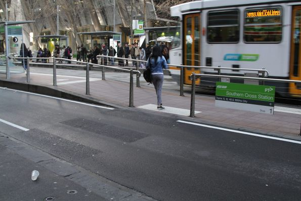 Decommissioned zebra crossing at the Southern Cross Station end of the Collins and Spencer Street tram stop