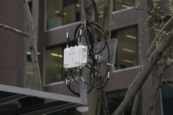 Wi-Fi equipment for a trial CCTV-powered passenger counting system at the Bourke and William Street tram stop