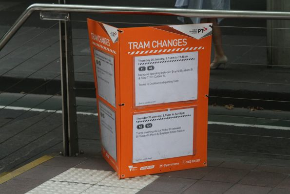 Tram changes for Australia Day notice at a Collins Street tram stop
