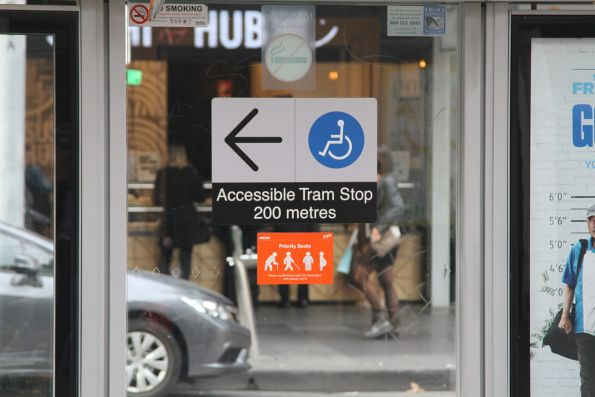 'Accessible tram stop 200 metres' sign at the Elizabeth Street tram terminus