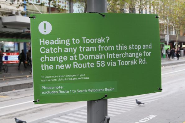 Notice informing route 8 passengers on Swanston Street to catch any tram and change at Domain Interchange route 58