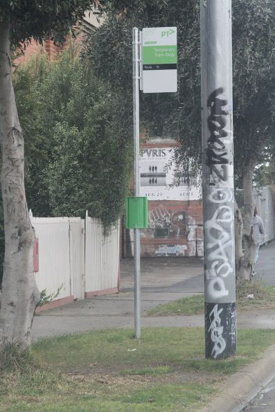 'Temporary tram stop' sign on route 82 in Ascot Vale