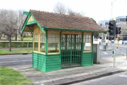 Heritage listed MMTB tram shelter at St Kilda Road and High Street