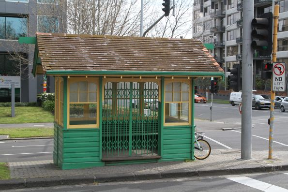 Heritage listed MMTB tram shelter at St Kilda Road and Lorne Street
