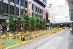 Pop up park takes over the southbound lanes beside the Elizabeth Street tram terminus