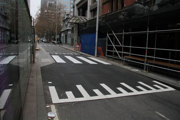Additional pedestrian crossing added in the middle of the Bourke and Spencer Street tram stop