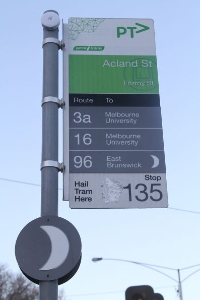 Bluetooth beacon affixed to the tram stop signage at Fitzroy and Acland Street