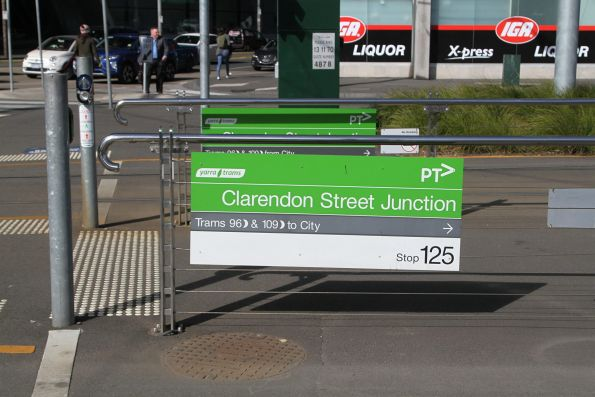 Signs leading to the tram stop at Clarendon Street Junction