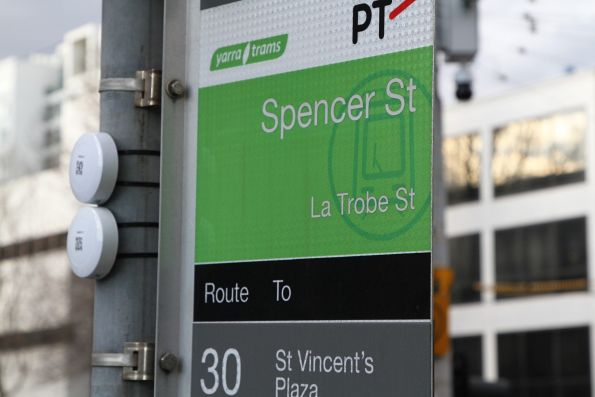 Bluetooth beacon affixed to the tram stop signage at La Trobe and Spencer Street