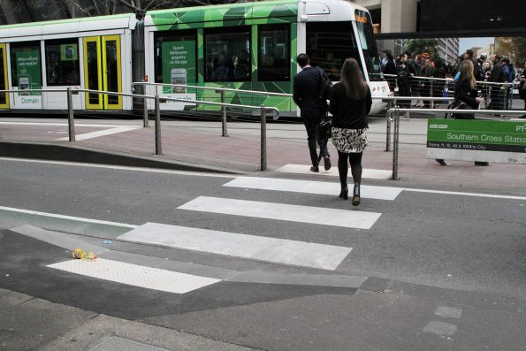 Western end of the Southern Cross Station tram stop on Collins Street now has a pedestrian crossing
