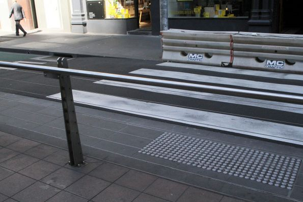 Additional pedestrian crossing at the middle of the Bourke and Spencer Street tram stop still waiting to be opened