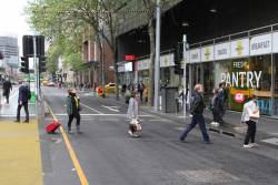 Why force pedestrians to wait at Spencer and Collins Street, when they are no cars to be seen?