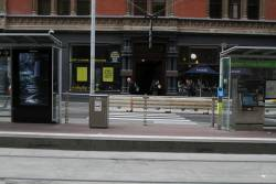 The additional pedestrian crossing to the Bourke and Spencer Street tram stop is still waiting to be opened
