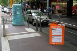 Portable toilet at the Collins and Elizabeth Street tram stop