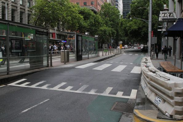 Six months on. the additional pedestrian crossing to the Bourke and Spencer Street tram stop is still waiting to be opened