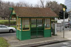 Heritage tram shelter locked out of use at St Kilda Road and High Street