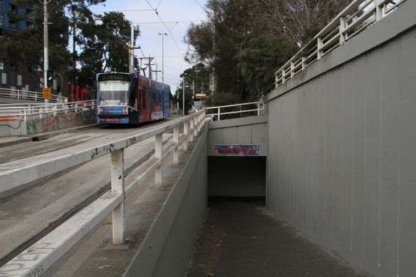 Headed into the dark and dingy tram stop underpass at St Kilda Junction