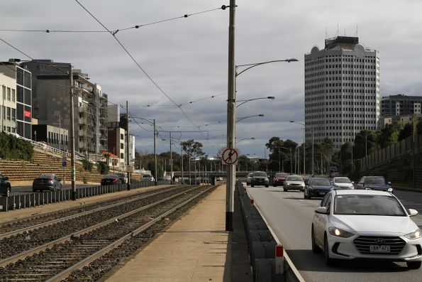 Tram tracks in the median strip of Queens Way