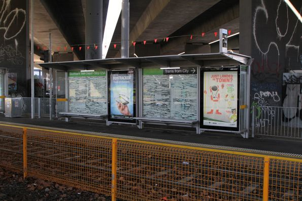 Nobody is interesting in advertising at the Southbank tram depot stop, so it's just Yarra Trams posters