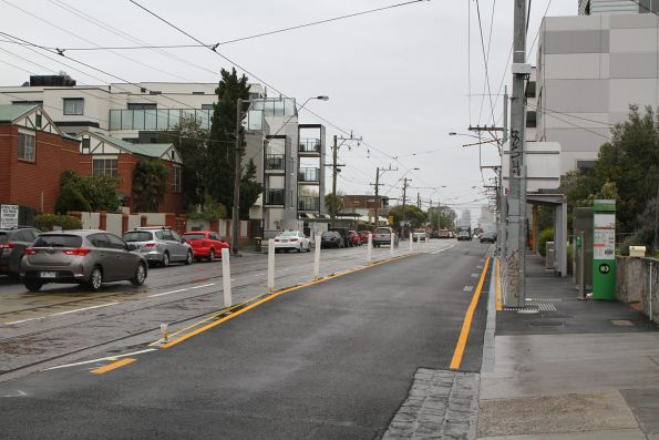 New northbound platform tram stop on route 96 at Nicholson Street and Glenlyon Road, Fitzroy North