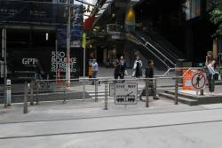 West end entrance to the Bourke and William Street tram stop now a pedestrian crossing