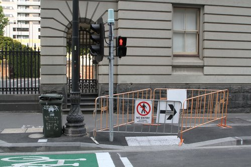 Closed off pedestrian crossing at the new William and Little Lonsdale Street tram stop