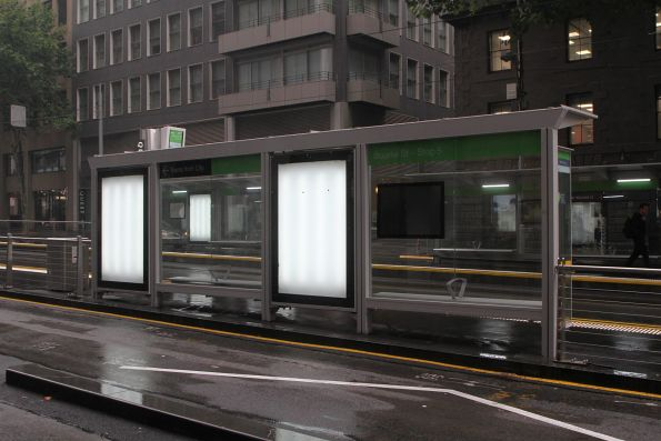 New tram stop at William and Bourke Street is yet to be covered in advertising