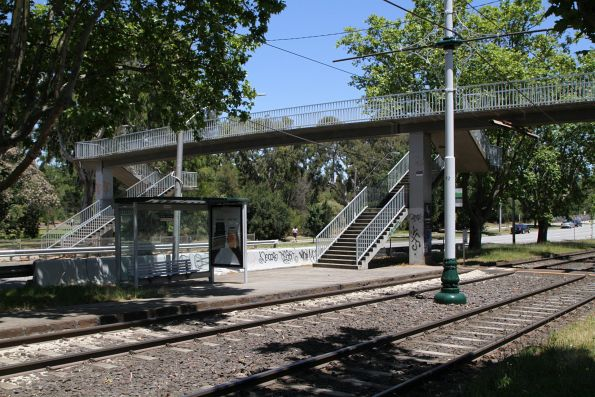 Footbridge provides the only pedestrian access to the Hornby Street tram stop in the middle of Dandenong Road, Windsor