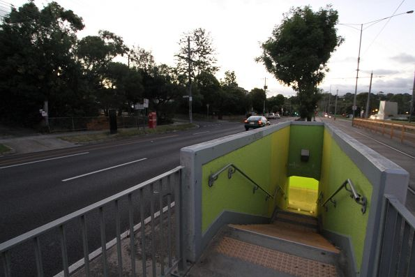 Single set of steps down the Deakin University tram stop to the Burwood Highway pedestrian underpass