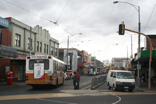 Safety zone tram stop at the route 82 terminus in Footscray