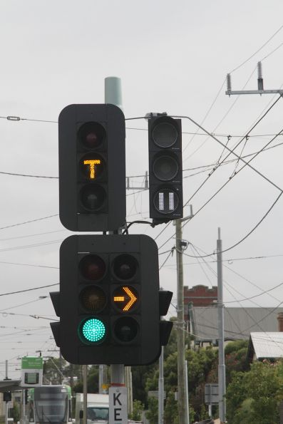 Tramway signals beside the traffic lights and 'T' lights at the East Brunswick tram terminus