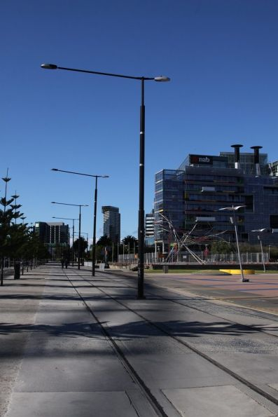 Abandoned tram tracks on Harbour Esplanade in Docklands, looking south